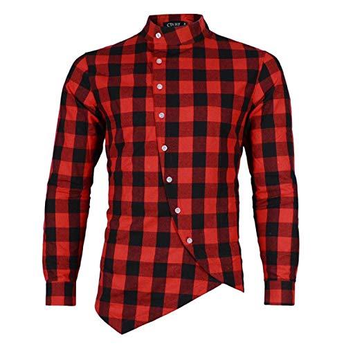 Camisa de Manga Larga con Cuello Alto a la Moda para Hombre, Camisa clsica Holgada con Botones con Dobladillo Irregular y Estampado a Cuadros clsico 3XL