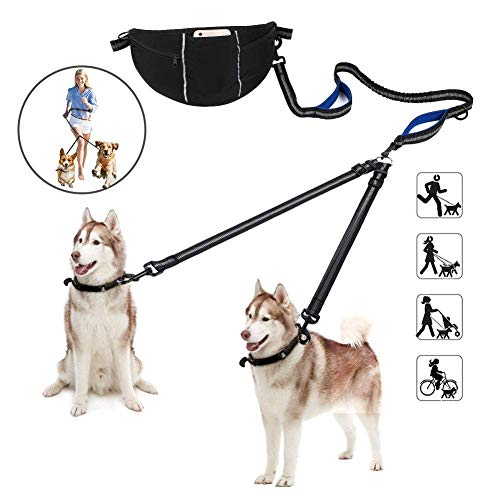 YOUTHINK Hands Free Dog Leash, Double Dog Leash with Reflective Stitching, Adjustable Waist Belt with Pocket, No Tangle Durable Dual-Handle, Multifunctional Leash Dogs Running Walking Hiking