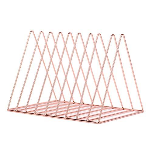 Toyvian Revista Book Rack Estantería de escritorio Triángulo Organizador de archivos para la oficina en casa Escuela (oro rosa)