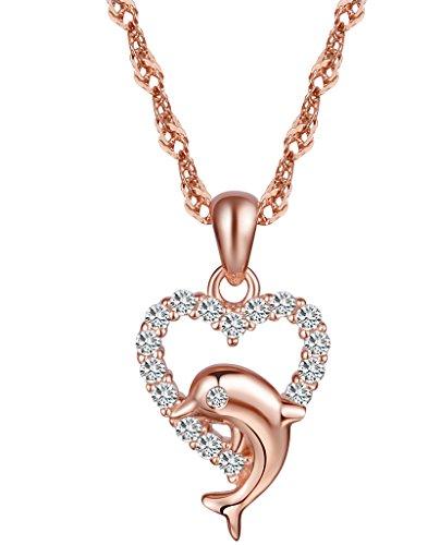 Collar Yumilok Jewelry con colgante en forma de delfín y corazón, plata de ley 925 bañada en oro rosa, circonitas cúbicas, ideal tanto para mujeres como para niñas