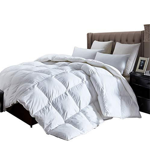 Luxurious King Size Lightweight Goose Down Comforter Duvet Insert All Season, 1200 Thread Count 100% Egyptian Cotton, 42 oz Fill Weight, Hypoallergenic, White Color