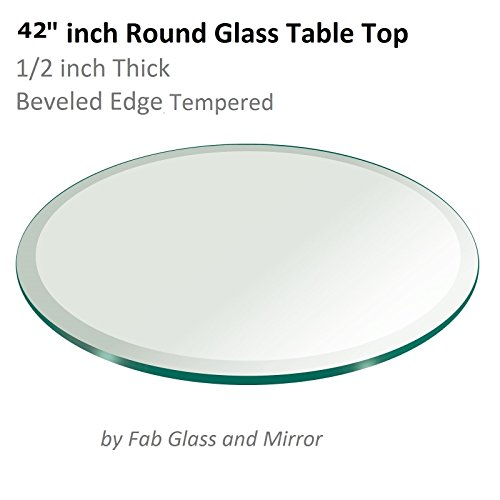 "42"" Inch Round Glass Table Top 1/2"" Thick Tempered Beveled Edge by Fab Glass and Mirror"