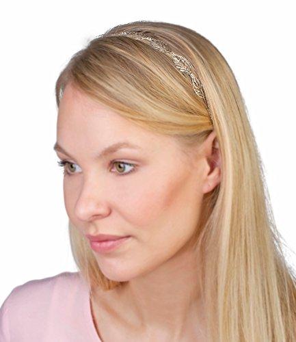 SIX Elastisches Haarband Kopfband mit filigranen silbernen Blättern griechische Göttin Cleopatra, Karneval, Fasching, Kostüm (252-895)