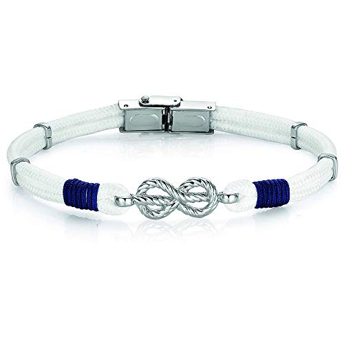 Pulsera de hombre estilo marinero cuerda blanca azul nudo marino acero BA1009