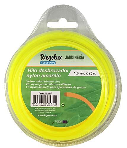 Riegolux 107663 Hilo Desbrozadora Nylon Cuadrada, Amarillo, 1.6 mm x 25 m