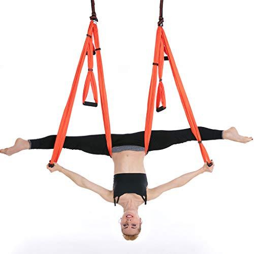 Aerial Yoga Swing Set honda, fuerte anti-gravedad, Yoga hamaca Kit, Equipo de trapecio, herramienta de inversión, Ejercicios, Incluir techo kit de montaje y 2 extensiones correas para uso doméstico,1