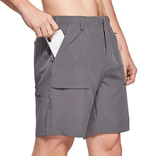 BALEAF 7' Cargo Shorts for Men Lightweight Stretchy Elastic Waist Quick Dry Shorts with Zip Pockets Hiking Fishing Grey Size M