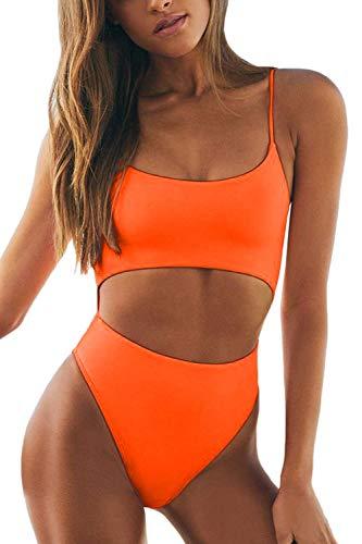 Meyeeka Women's Sexy Bathing Suit Cut Out One Piece Swimsuit High Waist Thong Sporty Beachwear M Orange