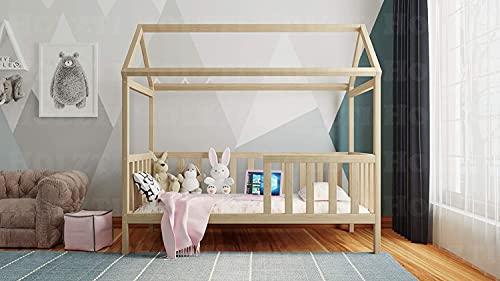 Holzti - Lit de Type Maison pour Enfants en Bois de pin Massif, Structure en Bois avec Main Courante et Niche pour commodes ou tiroirs (Natural, 190 x 90 cm)