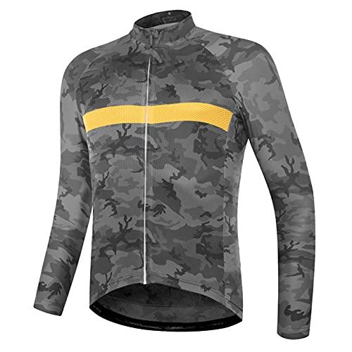 Maillot Bicicleta Hombre Maillot Ciclismo con Mangas Largas Mantenimiento cálido Jersey MTB con Bolsillo para Invierno (Grey,5XL)