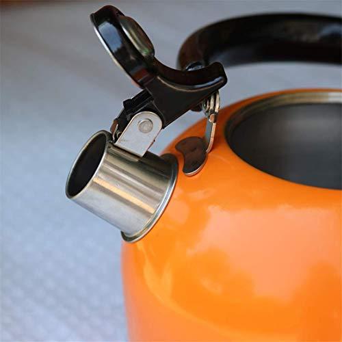 Tetera acero inoxidable hervidor de agua de naranja for todas las estufas con asas plegables, de gran capacidad de llenado rápido tetera, cafetera con asas resistentes al calor, cafetería oficina en c