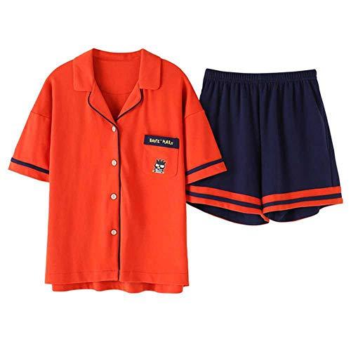 Conjuntos de Pijama Suelto deVeranoEstampado de Jirafa de Dibujos Animados para Mujer Conjunto de 2 Piezas Top de Manga Corta + Pantalones Cortos Pijama de Cintura elástica