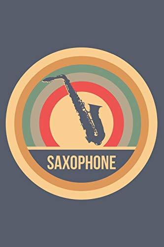 Saxophone: Retro Vintage Saxophon Notizbuch A5 Liniert 108 Seiten Notizheft - Geschenk für Saxophonisten