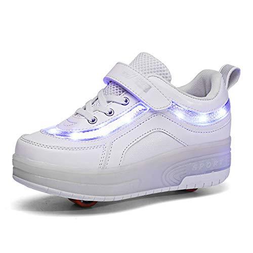 Zapatillas Deportivas LED para Niños LED Luces Skate Roller Zapatos con USB Recargable Luminosas Skateboard Sneaker Moda Gimnasia Zapatos de Skateboard para Niños Niñas Calzado de Deportes de Exte
