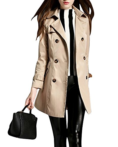 MISSMAO Donna - Trench Coat Cappotto Giacca - Basic - Maniche Lunghe Doppio Petto con Cintura - Classico y Elegante Cachi XL