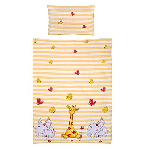 Gräfenstayn® 2 piezas Juego de cama para niños con motivos de animales y cremallera integrada hecha de 100% algodón, funda nórdica de 135x100 cm y funda de almohada de 60 x 40cm (Jirafa & Elefante)