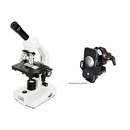 Celestron CM2000CF Compound Microscope w/40x - 2000x power, mechanical stage, 10x and 20x eyepieces, course and fine focus, 3 color filters, emersion oil with Universal Smartphone Adapter