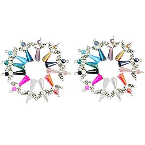 oshhni 24pcs Perlas de Plata Tibetana ángel Corazón ala Colgante de Cristal Encanto