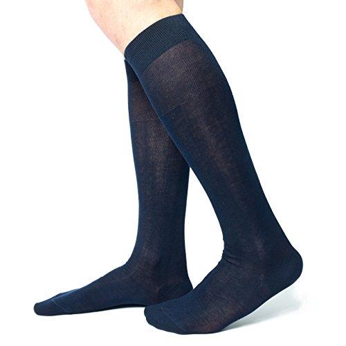 Ciocca Calze uomo lunghe, pregiato cotone 100% FILO SCOZIA - 6 Paia - tre taglie calze (40/41, Blu scuro)