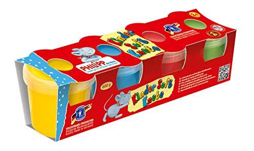 Feuchtmann Spielwaren 6280521 - PHILIPP DIE MAUS Kinder Soft Knete/Lufttrocknende Modelliermasse 2+, 4 Dosen á 150 g