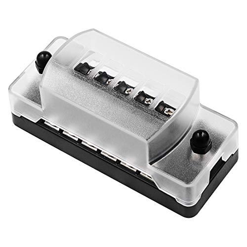 Caja de fusibles 1 en 1 hacia fuera 6 maneras Sin Distinción Negativo Positivo Caja de fusibles con fusibles 12 ZH-979A1 FB1903, for el coche auto del barco del carro