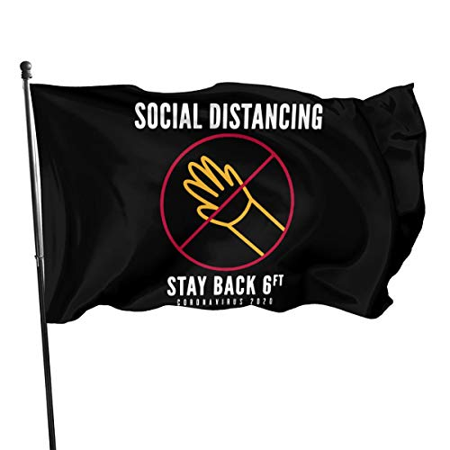 Mrscsefid Social Distancing Stay Back Do Not Touch Corona-Virus 2020 Flag 3 X 5 Flag for Yard Decoration Banner