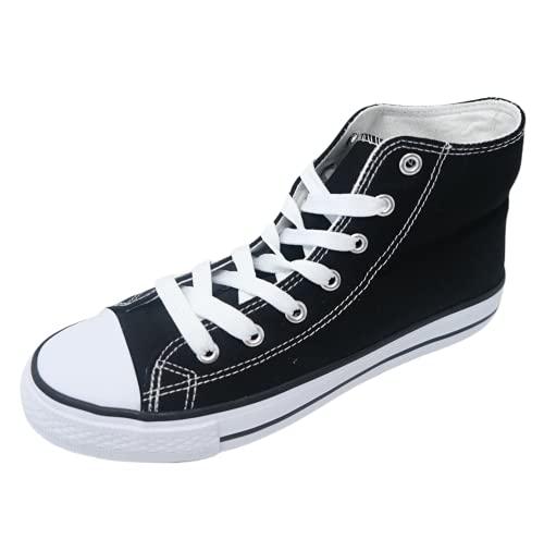 Zapatillas de Tela Caña Alta con Plataforma Estándar 3cm y Punta de Goma Unisex Tallaje 36 a 41 (Negro, Numeric_38)