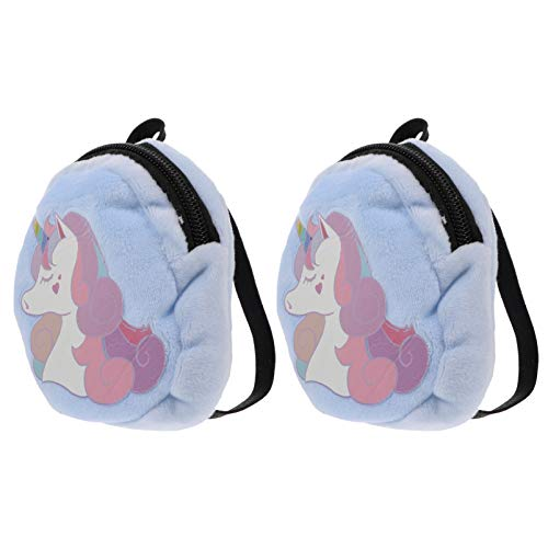 Amosfun Kinder Plüsch Einhorn Rucksack Winter Kleine Fuzzy Rucksack Casual Bag Große Kapazität Handtasche für Jungen Mädchen Shopping School Outdoor Hellblau 18Inch 2Pcs