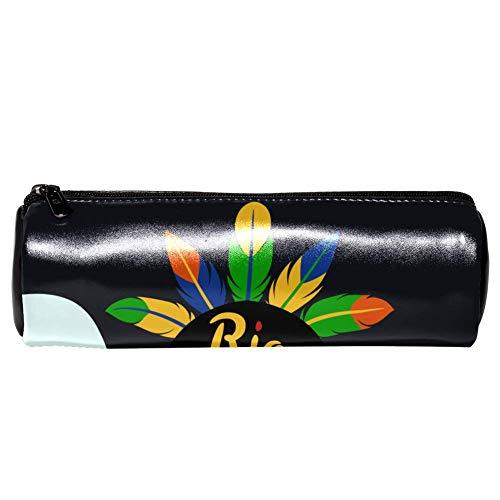 Rio Carnaval Schöne Frau Papageien Leder Barrel Schule Stifthalter Kinder Stifthalter Trommel Große Kapazität Tasche Makeup Kosmetik Box Büro Reise Tasche