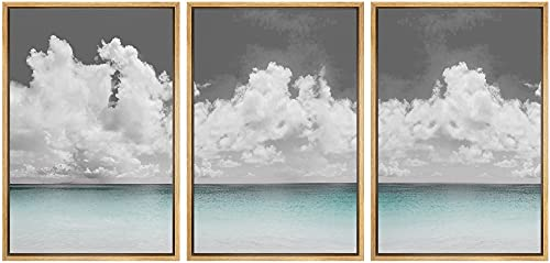 SIGNWIN 3 Piece Framed Canvas Wall Art Clouds Above The Blue Ocean...