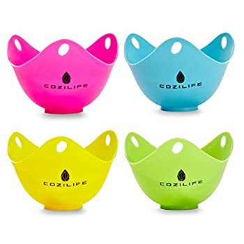 Egg Poacher – COZILIFE Silicone Egg Poaching Cups with Ring Standers For Microwave or Stovetop Egg Cooking Kraft Box Packing BPA Free Pack of 4