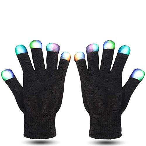 MUCH LED Gloves Finger Lights Fingertips Flashing 3 Colors 7 Modes Black Rave Gloves Halloween Costume Party Favors Light Up Toys Novelty