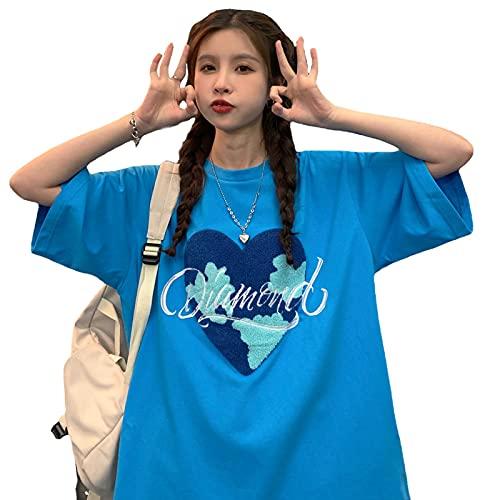 韓国ファッション tシャツレディース 半袖 tシャツ 韓国ファッション レディース 韓国 レディース 夏 韓国 tシャツ tシャツ レディース 韓国 (濃紺)