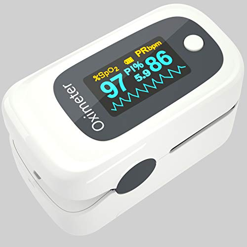 Pulse Oximeter Fingertip, Blood Oxygen Saturation Monitor for Heart Rate PR and SpO2 Levels, Portable Pulse Oximeter Finger with Lanyard, Large LED Display and Accurate Fast Reading