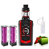 Electronic Cigarette,Authentic <span class='highlight'>Smok</span> 230W Species Kit with Touch Screen, TPD Tank and Rechargeable Efest 3000mah Batteries, No Nicotine, No Liquid (Black Red)