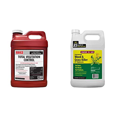 RM43 43-Percent Glyphosate Plus Weed Preventer Total Vegetation Control, 2.5-Gallon & Compare-N-Save 016869 Concentrate Grass and Weed Killer, 41-Percent Glyphosate, 1-Gallon, White
