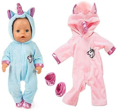 MICHAELA BLAKE Einhorn-Overall Sets Enthalten Himmelblau Und Rosa Puppenkleidung 2 Paar Schuhe 43 cm New Born Baby-Puppen / 18-Zoll-Baby-Puppen