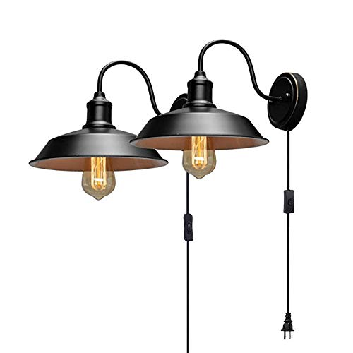 Stepeak Gooseneck Plug in Wall Sconces Lighting 2 Pack - Black Vintage Wall Lamp, Industrial Light Fixtures with 10In Cord, Decor for Farmhouse Bar Bedroom Living Room Hallway, E26 Base (Exclude Bulb)