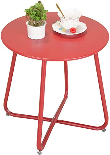 Grand patio Small Table,Various of Colours, Round Metal Side Table,Lightweight, Weather Resistant, Snack Table for Living Room, Hallway, Bedroom, Garden, Terrace, Balcony (Red)