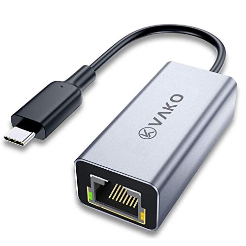 VaKo USB C auf Ethernet Adapter, USB C 3.0 auf RJ45 1000Mbps Gigabit Ethernet Adapter LAN Netzwerkadapter für MacBook Pro 2018/2017 / 2016, ChromeBook Pixel und Andere Typ C Geräte