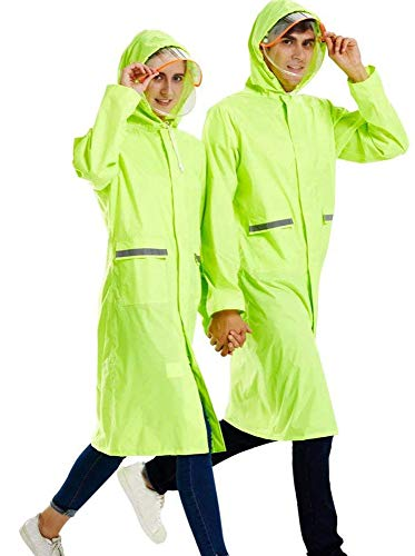 Rain Poncho High Visibility Long Reflective Waterproof Raincoat with Hood for Men Adult Outside