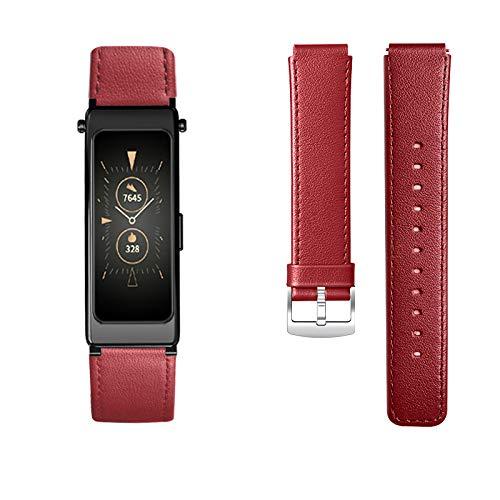 KOMI Correa de reloj para Huawei Talkband B6, correa de piel de repuesto para mujeres y hombres, pulsera deportiva (rojo)