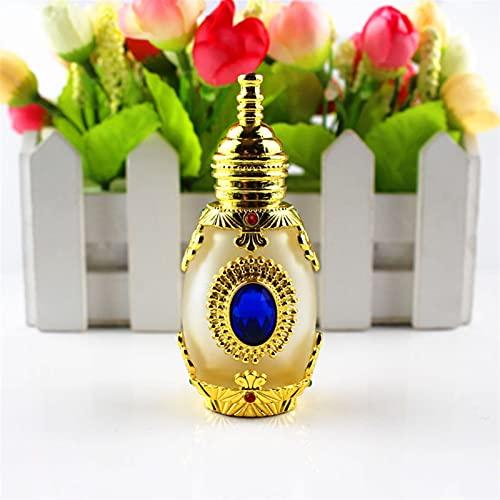 Botella de perfume de viaje Botella de aceite de cristal de cristal congelado de 15 ml de metal antiguo Botella de aceite esencial de estilo árabe con gotero de cristal Botella de Oriente Medio para h