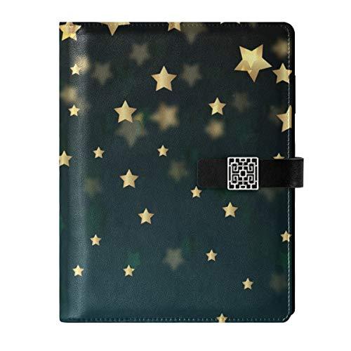 Cuaderno de piel para escribir diario, diario de viaje, estrellas doradas, noche, rellenable, tamaño A5, interior rellenable, cuaderno de tapa dura, regalo para hombres y mujeres
