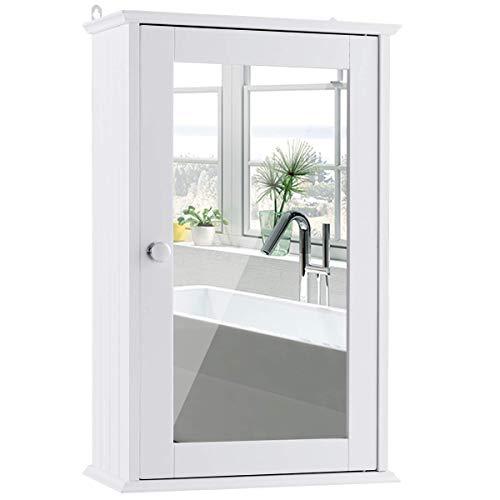 COSTWAY Armario con Espejo de Baño de Pared con Puertas 2 Estantes Gabinete de Madera Baño Almacenamiento
