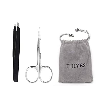 Ithyes Complete Tweezer Set 2 PCS Slant Tip Tweezer Stainless Steel Tweezers Eyebrow Trimmer Scissor for Shape Precision Ingrown Hair Nose Hair Blackhead Tick Remover,Black from Ithyes