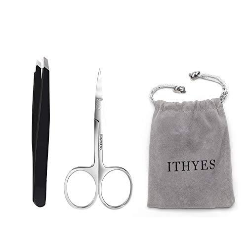 Ithyes, set completo di 2 pinzette con punta inclinata in acciaio inox, forbici per sopracciglia e sopracciglia, per rimuovere i punti neri, colore nero