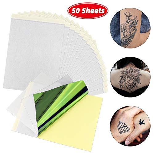 K KUMEED 50 Blatt Tattoo Papier, Stencil Papier Tattoo, Transferfolie Tattoo, Matritzenpapier Papier Tattoo Transferpapier, Tattoo Transferfolie, A4 Tattoo Pauspapier für Tattoo