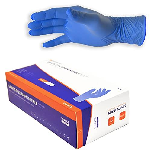 Gants d examen médicaux jetables en nitrile non poudrés sans latex - 100 PCS - Certifiés norme EN 455, EN ISO 374-5, EN ISO 374-1 (L)