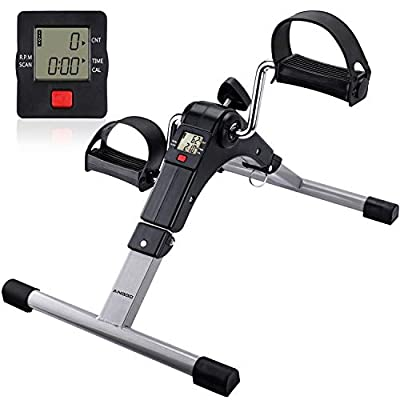 Pedal Exerciser, ANGGO Mini Exercise Bike Folding for Arm/Leg Workout, Exercise Peddler Machine Portable with LCD Display (Includes Non-Slip Pads and Straps)